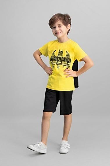 Batman Batman Lisanslı Siyah Erkek Çocuk Bermuda Takım Sarı
